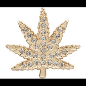Gold hemp leaf